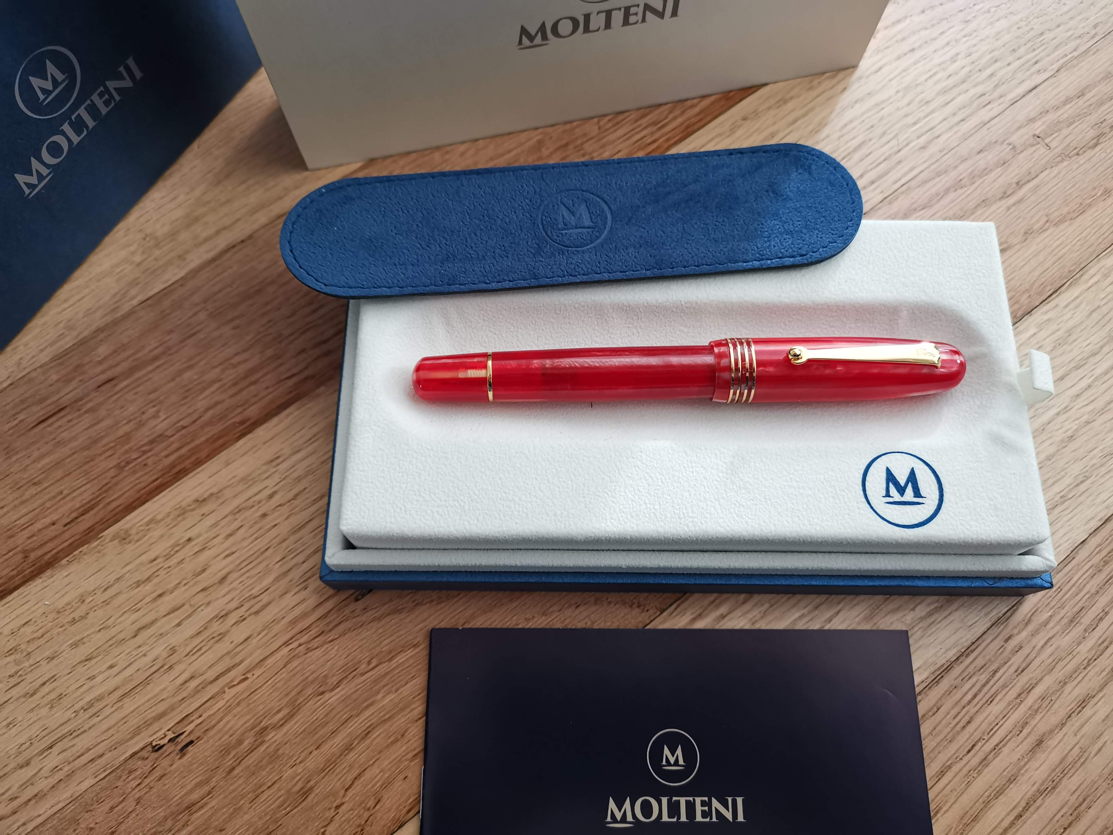 Details about  /MOLTENI PEN MODELO 54 INFERNO RED LT ED FOUNTAIN PEN